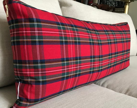 Oversized Red Plaid Lumbar Pillow Cover | Christmas Lumbar Pillow, Christmas Plaid, Skinny Pillow, Extra Long Lumbar, Stewart Tartan Plaid