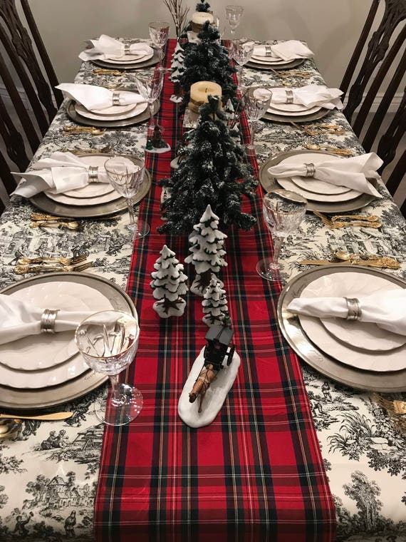 Red Tartan Plaid Table Runner | Scottish Burns Supper, Christmas Table Runner, Christmas Plaid, Stewart Plaid Table Runner, Holiday Linens
