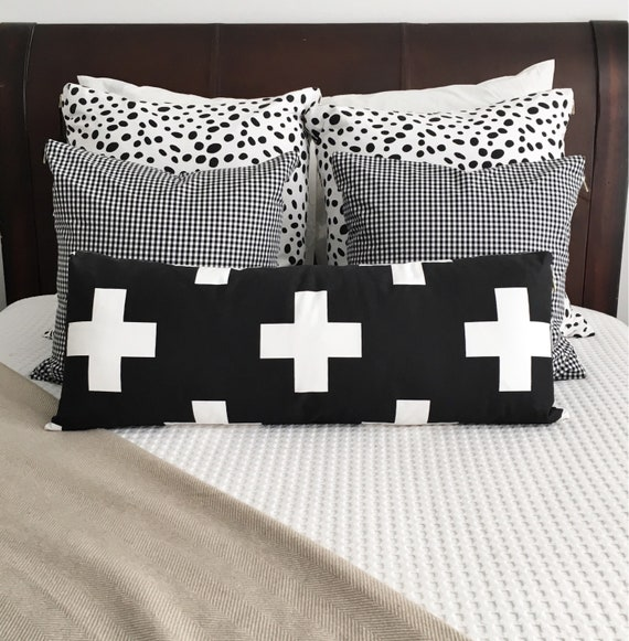 Oversized Swiss Cross Lumbar Pillow Cover | Plus Sign Pillow Cover, Black & White Pillow, Swiss Cross, Lumbar, Throw Pillow, Long Lumbar