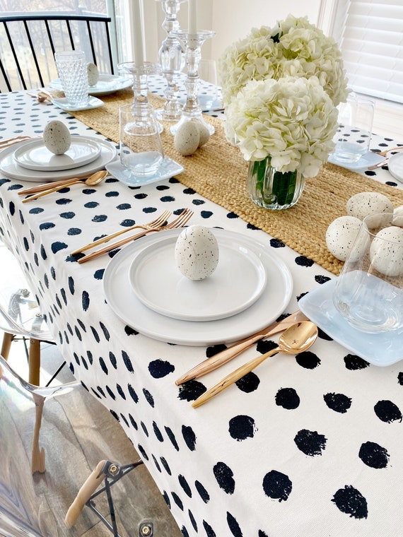 Polka Dot Tablecloth | Black and White Tablecloth, Easter Tablecloth, Spring Table Linens, Baby Shower Tablecloth, Polka Dot Print Linen