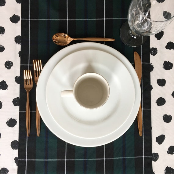 Green Tartan Table Runner | Christmas Table Runner, Christmas Plaid, Tartan Table Runner, Stewart Plaid, Forrest Green Tartan Plaid