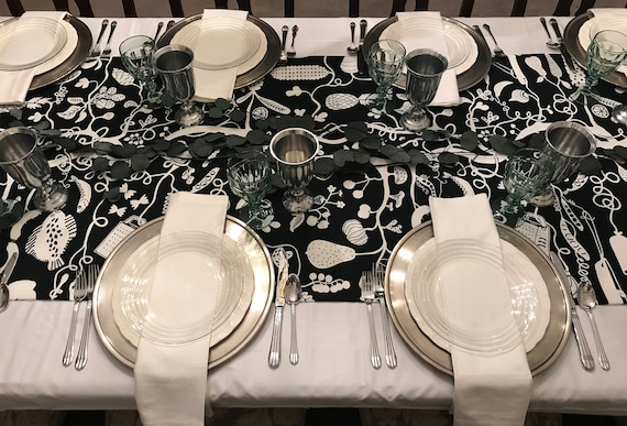 Harvest Black & White Table Runner | Wedding Table Linens, Interactive Table Runner, Coloring Book Table Runner, Holiday Table Runner