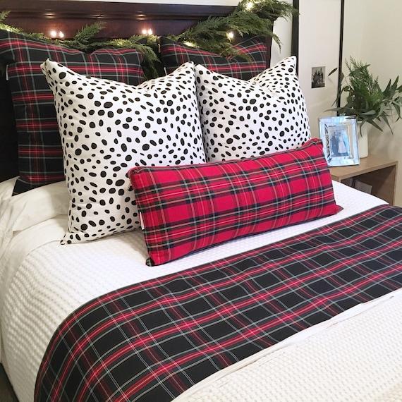 Oversized Red Plaid Lumbar Pillow Cover | Christmas Lumbar Pillow, Christmas Plaid, Skinny Pillow, Extra Long Lumbar, Stewart Tartan Plaid