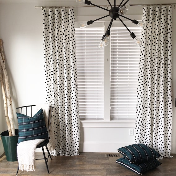 Polka Dot Drapes, Black and White Drapes, Spotted Drapes, Pom Pom Drapes, Window Treatment, Mid-Century Drapes, Curtains, Window Covering