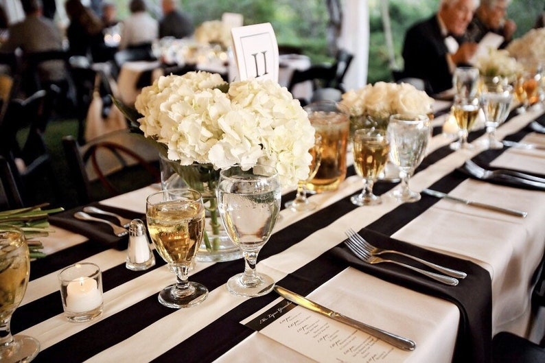 Black & White Stripe Table Runner  Wedding Table Linens Wide image 0
