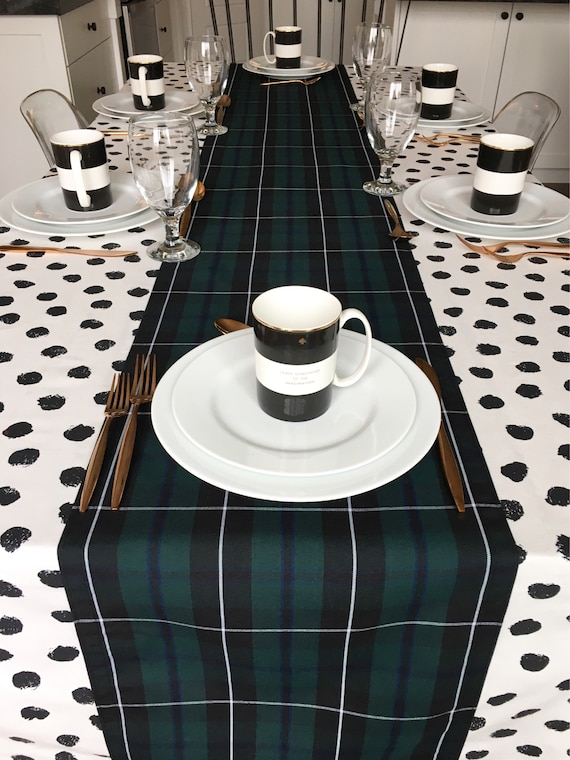 Green Tartan Table Runner | Christmas Table Runner, Black Watch Tartan, Blackwater Tartan, Christmas Plaid, Tartan Table Runner