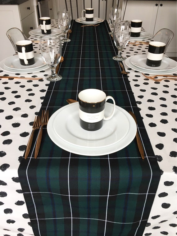 Green Tartan Table Runner | Wedding Table Linens, Black Watch Tartan, Blackwater Tartan, Scottish Burns Night Supper, Forrest Green, Plaid