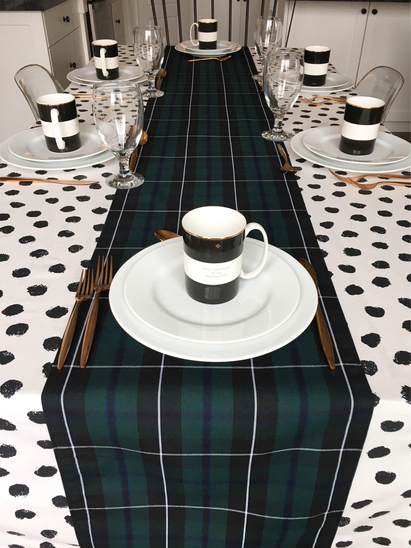 Green Tartan Plaid Table Runner Christmas Table Runner Holiday Table Linens Winter Black Watch Tartan Blackwater Plaid Burns Supper