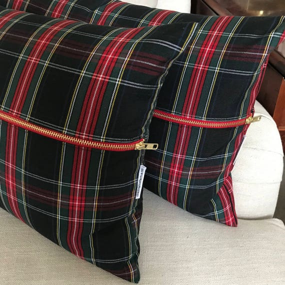 Black Tartan Lumbar Pillow Cover | Christmas Plaid Pillow Cover, Stewart Tartan Plaid Pillow, Christmas Pillow, Black Plaid, Envelope Style