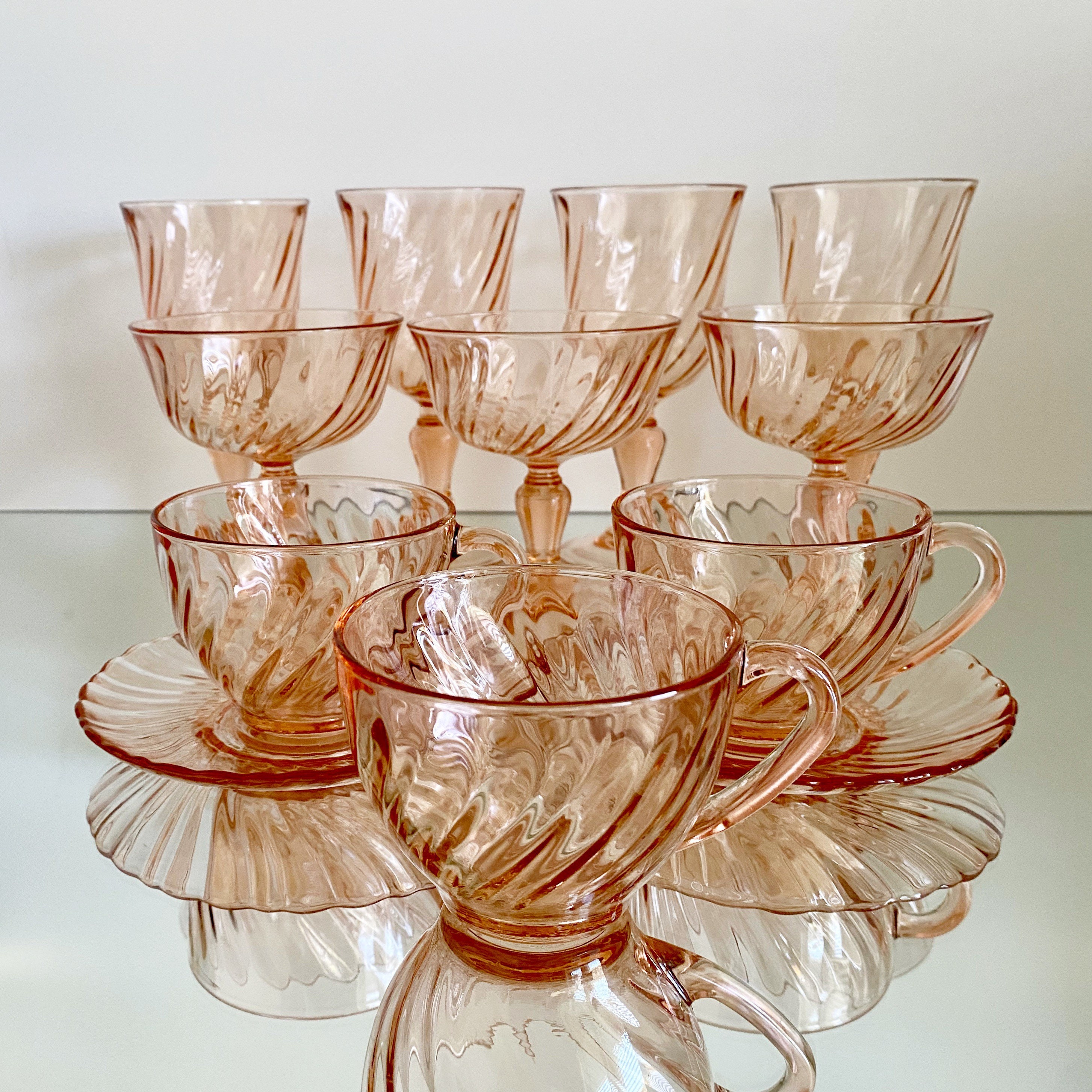 ARCOROC LUMINARC FRANCE NEW PINK SWIRL 5 5/8 INCH WINE GLASS MORE AVAILABLE  | Wine glass, Types of glassware, Teapots and cups