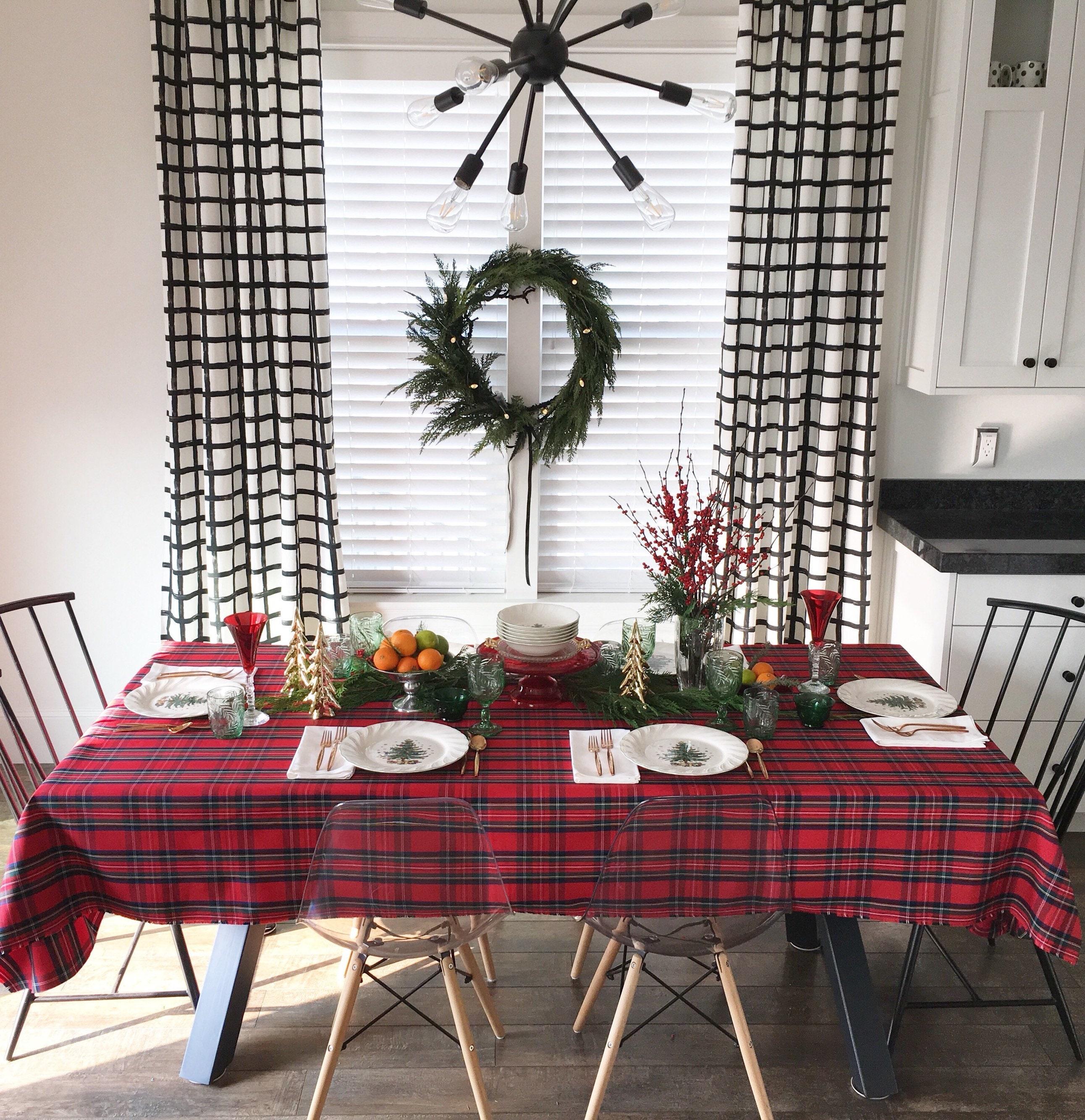 Red Tartan Tablecloth | Scottish Plaid Table Linens, Royal ...