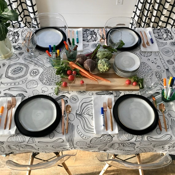 Coloring Book Tablecloth | Thanksgiving Tablecloth, Holiday Tablecloth, Christmas Gift, Interactive Table Linens, Coloring for Kids & Adults