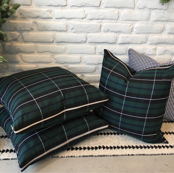 Green Tartan Pillow Cover | Christmas Pillow, Christmas Plaid, Stewart Plaid, Forrest Green Plaid Pillow, Green Tartan, Holiday Pillow