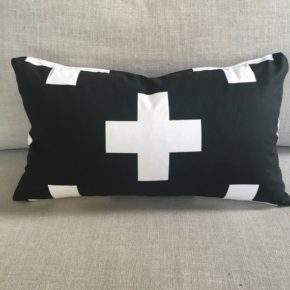 Swiss Cross Pillow | Plus Sign Pillow Cover, Black & White Pillow, Swiss Cross, Lumbar, Throw Pillow, Home Decor, Black and White Pillow