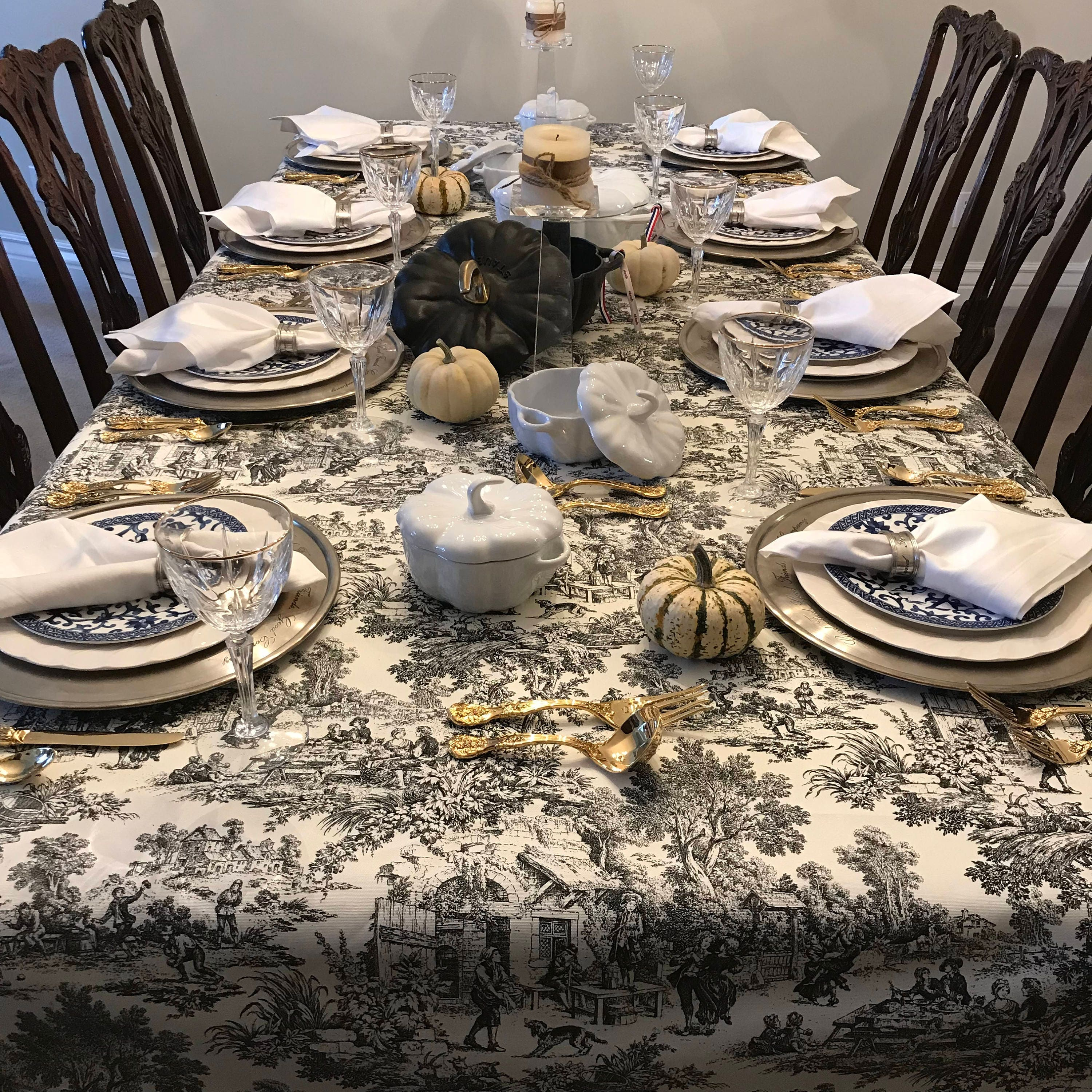 Black And White Toile Tablecloth French Toile Tablecloth Thanksgiving Tablecloth Christmas Tablecloth French Pastoral Toile Tablecloth