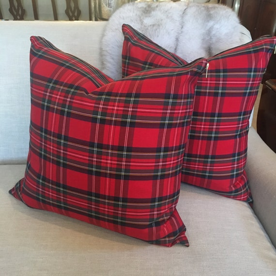 Red Tartan Pillow Cover | Christmas Pillow, Christmas Plaid, Stewart Plaid, Red Plaid Pillow, Red Tartan, Check Pillow, Holiday Pillow