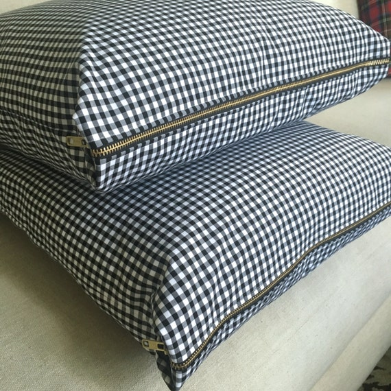 Gingham Pillow Cover, Black & White Gingham, Pillow Cover, Gingham Check Pillow, Plaid Pillow, Check Pillow Cover, Holiday Pillow