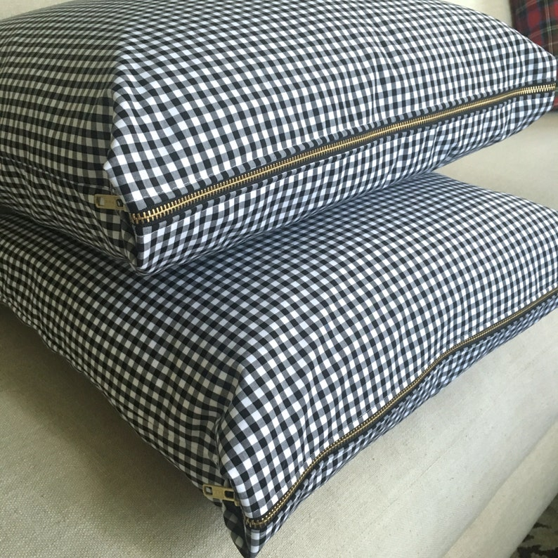 Gingham Pillow Cover Black & White Gingham Pillow Cover image 0