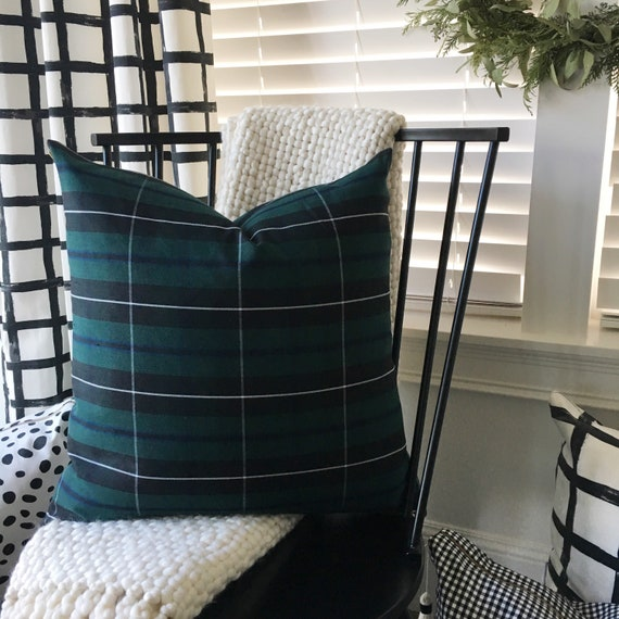 Green Tartan Pillow Cover | Black Watch Tartan, Blackwater Tartan, Forrest Green, Scottish Plaid, Large Pattern Plaid, All-Season Plaid