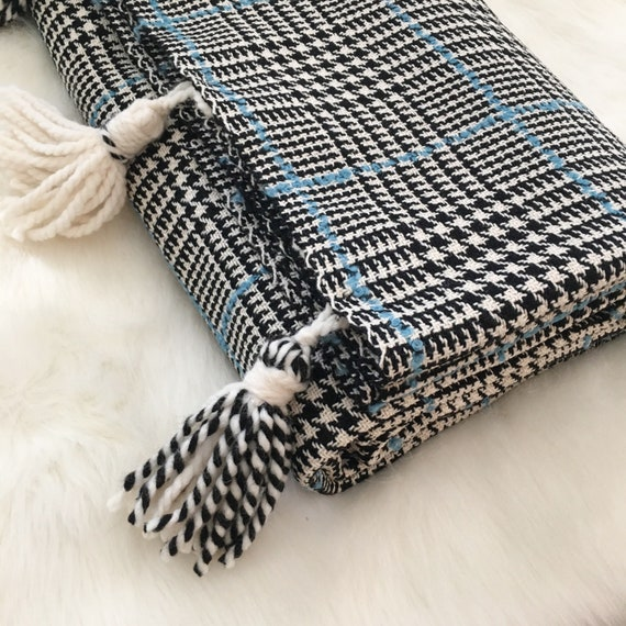 Glen Plaid Throw Blanket | Houndstooth Throw Blanket, Holiday Throw Blanket, Christmas Throw Blanket, Plaid Throw Blanket, Black & White