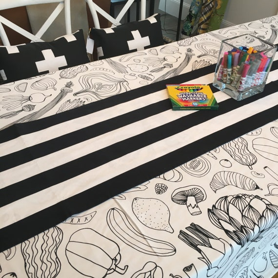 Coloring Book Tablecloth | Thanksgiving Tablecloth, Wedding Table Linens, Interactive Tablecloth, Tablecloth for Kids, Christmas Tablecloth