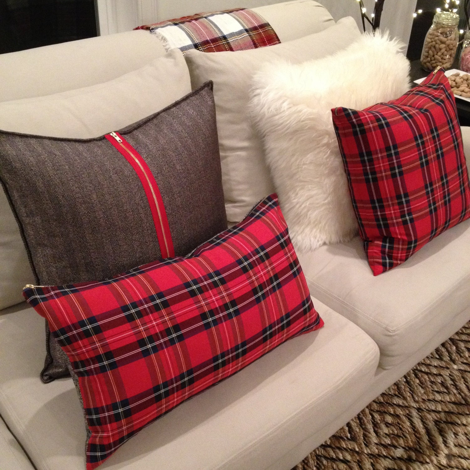 Red Plaid Lumbar Pillow Cover Christmas Plaid Pillow