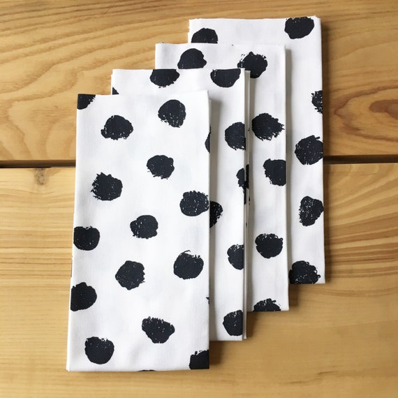 Polka Dot Napkins - Set of 4, Black and White Napkins, Spotted Napkins, Pom Pom Napkins, Dot Napkins, Table Linens