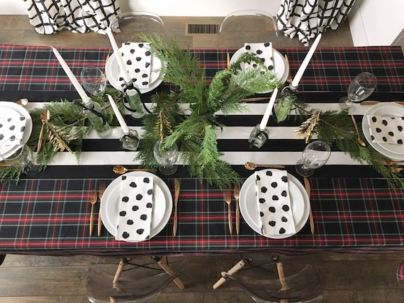 Black & White Stripe Table Runner | Wedding Table Linens, Wide Stripe Table Runner, Table Runner, Banquet Size Runner, Christmas Tablecloth