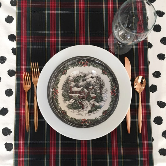 Black Tartan Table Runner | Scottish Burns Supper, Christmas Table Runner, Christmas Plaid, Tartan Table Runner, Stewart Plaid, Tartan Plaid