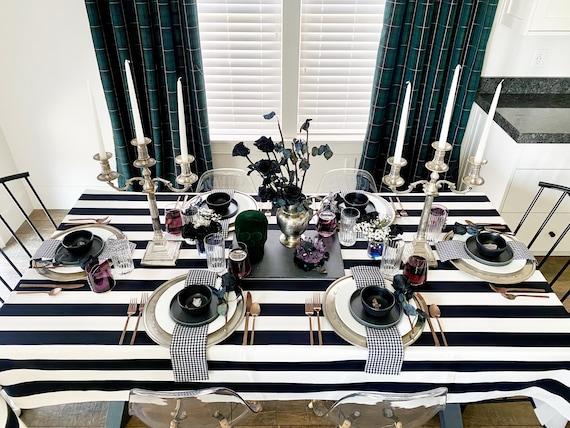 Addams Family Halloween Tablecloth | Spooky Tablecloth, Halloween Table Cloth, Black & White Table Setting, Extra Long, Custom Sizes
