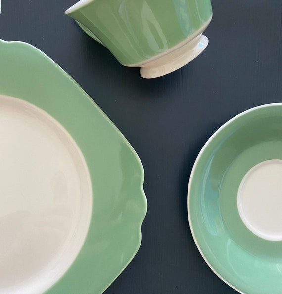 Vintage 1940s Green Dinnerware | Mid-Century Tableware, Art Deco Style Dishware, Tea Cup, Saucer, Salad Plate, Found Object