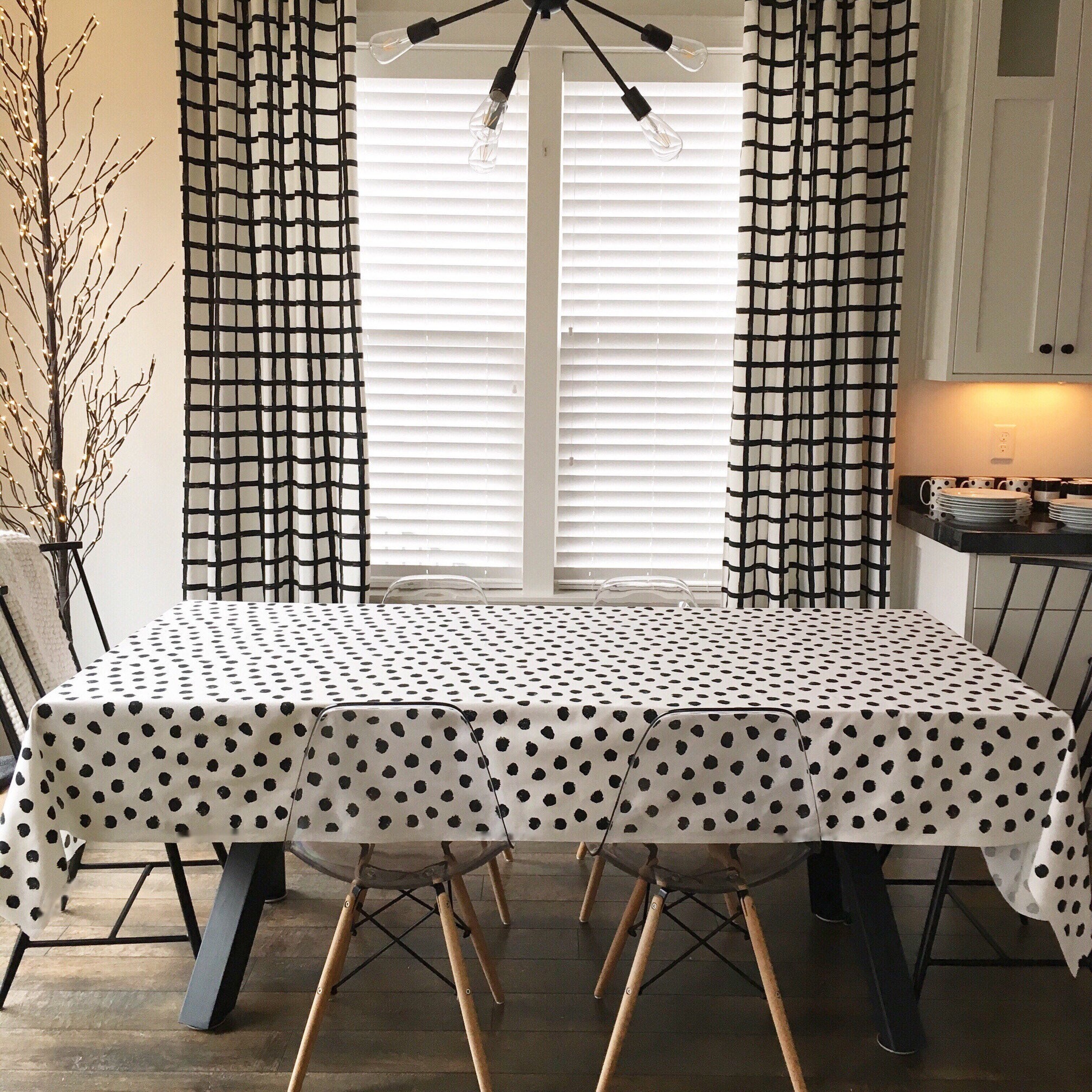 Polka Dot Tablecloth Black And White Tablecloth