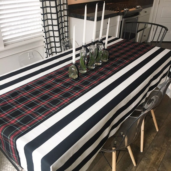 Black and White Striped Tablecloth