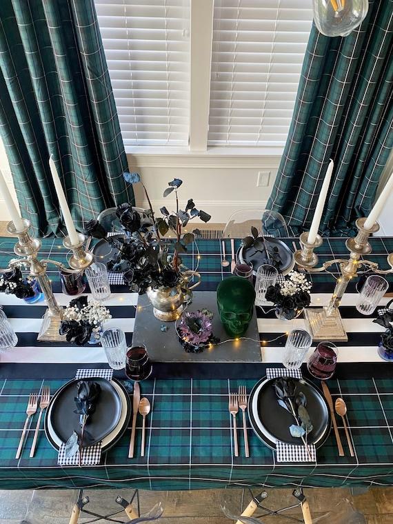 Count Dracula Halloween Tablecloth | Transylvania Table Cloth, Macabre Table Setting, Halloween, Extra Long Tablecloth, Custom Sizes