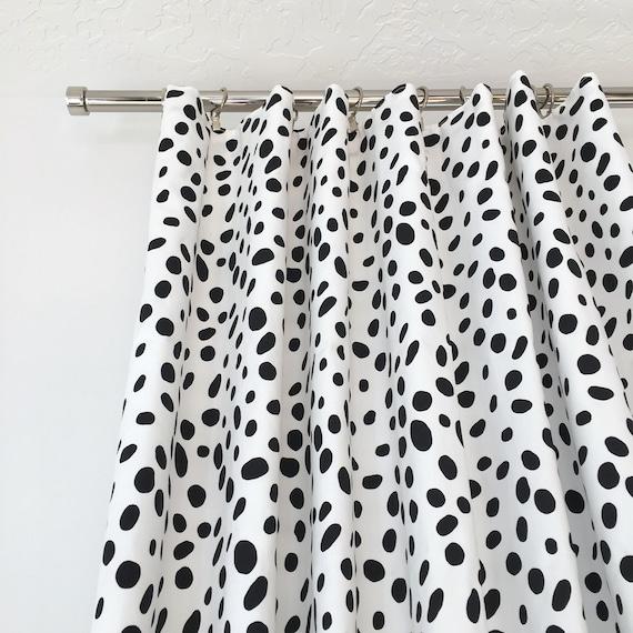 Dalmatian Print Drapes, Black and White Drapes, Polka Dot Drapes, Window Treatment, Curtains, Curtain Panel, Window Covering
