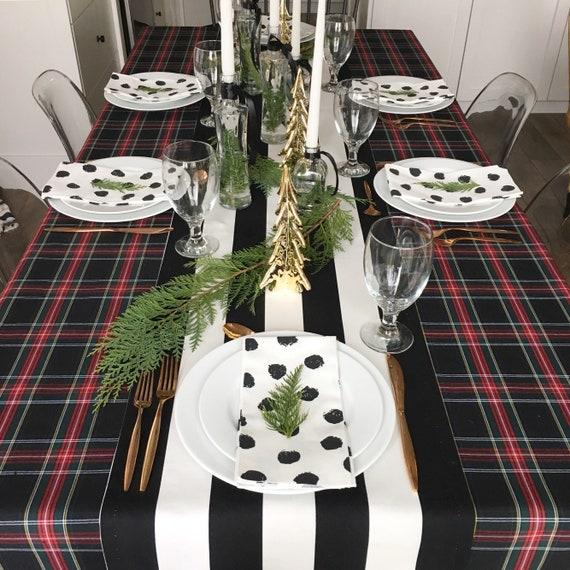 Black Tartan Tablecloth | Tartan Table Cloth, Stewart Black Tartan, Holiday Tablecloth, Wedding Linen, Table Cover, Extra Long, Custom Sizes