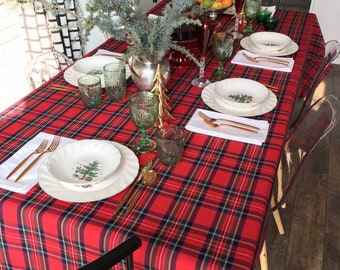 Red Tartan Tablecloth | Tartan Table Cloth, Royal Stewart Tartan, Christmas Tablecloth, Holiday, Extra Long Tablecloth, Custom Sizes