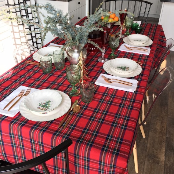 Red Tartan Plaid Tablecloth | Christmas Tablecloth, Christmas Plaid Tablecloth, Stewart Plaid Tablecloth, Holiday Tablecloth, Tartan Linens