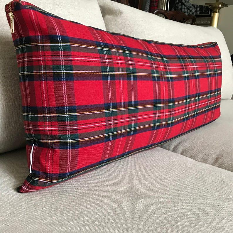 Oversized Red Plaid Lumbar Pillow Cover  Christmas Lumbar image 0