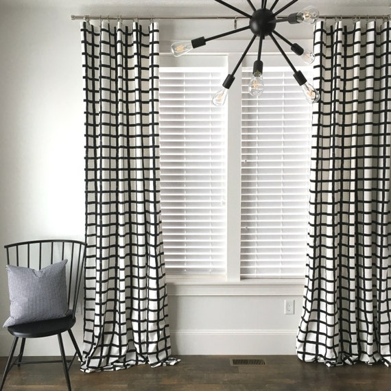 Windowpane Plaid Drapes,  Black and White Drapes, Check Drapes, Plaid Window Treatment, Mid-Century Drapes, Curtains, Window Covering