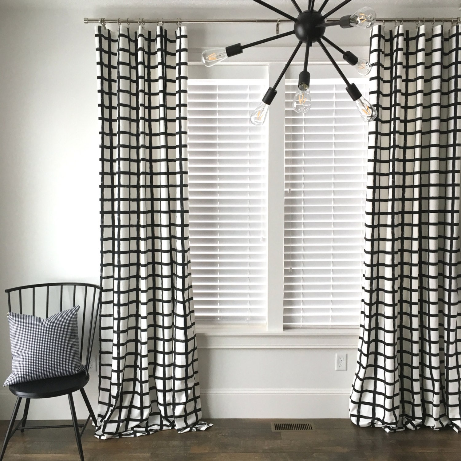 Windowpane Plaid Drapes Black And White Check Window Treatment Mid Century Curtains Covering