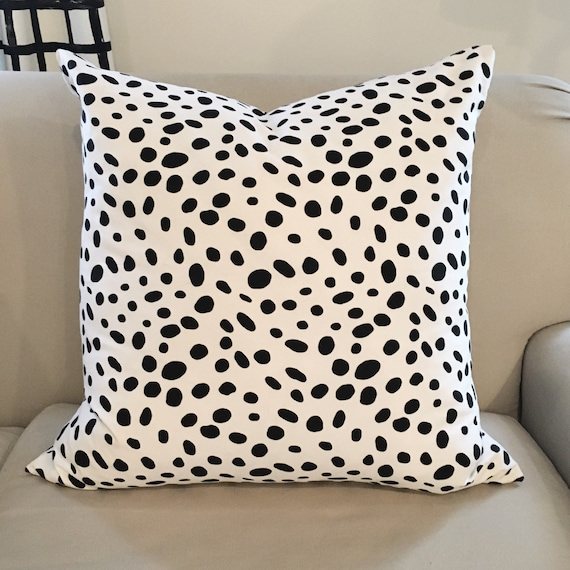 Dalmatian Pillow Cover | Black and White Pillow Cover, Throw Pillow, Dalmatian Print Linen, Dot Pillow Cover, Polka Dot Pillow, Spot Pillow