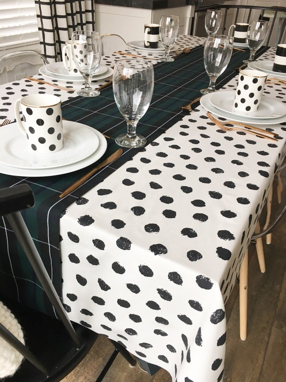 Polka Dot Tablecloth | Black and White Tablecloth, Christmas Tablecloth, Holiday Table Linens, Holiday Tablecloth, Polka Dot Print Linen