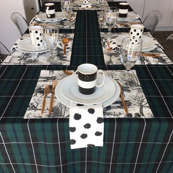 Green Tartan Tablecloth | Christmas Tablecloth, Plaid Tablecloth, Black Watch Tartan, Blackwater Tartan, Holiday Tablecloth, Forrest Green
