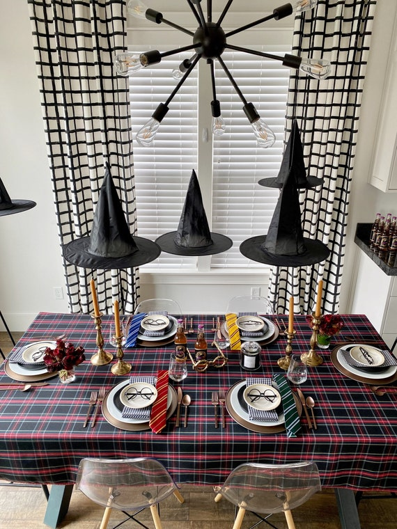 Harry Potter Halloween Tablecloth | Hogwarts Table Cloth, Gryffindor Table Setting, Harry Potter Party, Extra Long Tablecloth, Custom Sizes