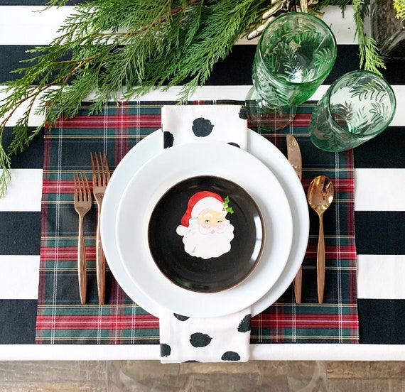 Black Tartan Placemats | Christmas Placemats, Christmas Plaid Table Linens, Stewart Plaid, Holiday Tartan Linen