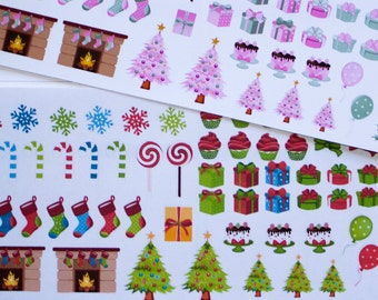 Pink or Green Christmas Stickers for (ECLP) Erin Condren Planners, Happy Planner, Christmas Reminders, Holiday Stickers, Charts and Teachers
