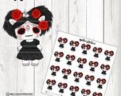 Sugar Skull, Planner Stickers, Erin Condren, Skeleton Stickers, October Stickers, Halloween Stickers, Sugar Skull Stickers, Costume Stickers