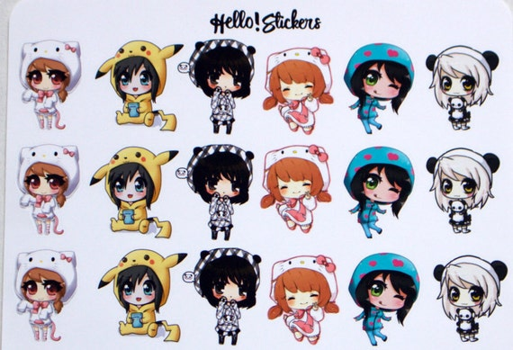 Chibi Girls Stickers Erin Condren Planner Anime