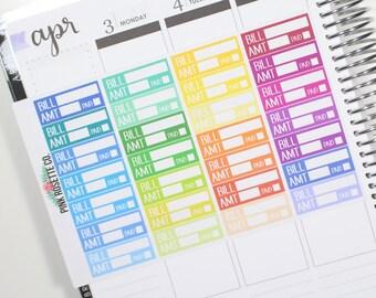 Bill Due Stickers in multicolored for Erin Condren Life Planner! 020